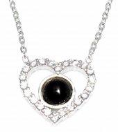 925 Ayar Gümüş Kalp Kolye, Beyaz, Siyah Taşlı