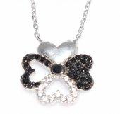 925 Ayar Gümüş Yonca Kalp Kolye, Beyaz Beyaz, Siyah Taş