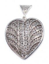925 Ayar Gümüş Döküm Telkari Kalp Kolye Ucu