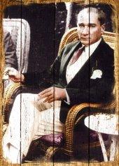 Atatürk Ahşap Eskitme Tablo Ev,cafe,ofis Dekorasyo...