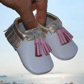 Corcik Makosen Bebek Ayakkabı Beyaz Gold Cv 382