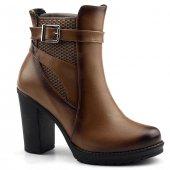 Ayakland 820 Taba 9,5 Cm Topuk Kemerli Bayan Bot Ayakkabı