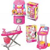 Barbie Evcilik Oyun Seti 3 Ü Bir Arada Mutfak Temizlik Ütü Seti