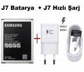 Samsung Galaxy J7 Batarya Pil + Şarj Aleti Cihazı Usb Hızlı Şarj