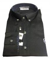 Adobelli 0422 Slim Fit Uzun Kol Siyah Gömlek
