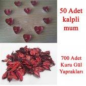 50 Mum + 700 Kuru Gül Yaprağı, Kalp Mum Ve Kuru Gül Yaprakları