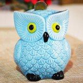 Dekoratif Seramik Baykuş Kumbara Mavi