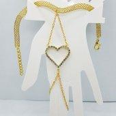 Gold Renkli Kalp Figürlü Taşlı Şık Bayan Şahmeran Tb0284
