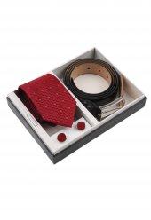 Kırmızı Kravat Kemer Kol Düğmesi Erkek Hediye Seti Kkk128