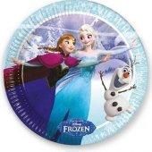 Frozen Buz Işıltısı Kağıt Tabak 23 Cm 8 Adetli