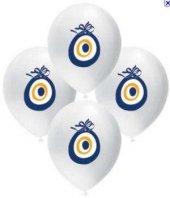Balon Beyaz Nazar Boncuklu 10 Adetli