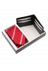 Kırmızı Kravat Mendil Cüzdan Erkek Hediye Seti Kmc35