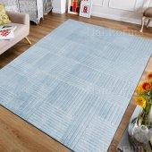Düz Renk Halı Mavi Renk Kaymaz Taban Modern Desen İ S22 80x140