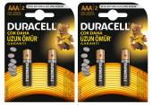 Duracell Aaa İnce Kalem Pil 2li 2 Paket (4 Adet)