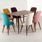 Evform Stork Gökkuşağı 6 Sandalyeli Yemek Masası Takımı Masa Sand