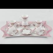 Cooker Porselen 6 Kişilik Tepsili Fincan Seti Pembe