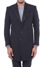 Geniş Yaka Diz Üstü Siyah Palto