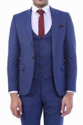 Desenli Yelekli Mavi Takım Elbise