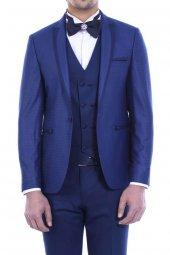 Ceket Desenli Yelekli Mavi Damatlık
