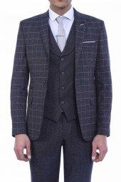 Ekose Ceket Düz Yakalı Yelek Ve Düz Pantolon Lacivert Takım Elbise