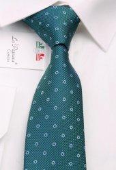 Yeşil Puantiye Desen Slim Kravat 6402