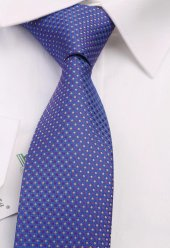 Mavi Nokta Desen Slim Kravat 6496