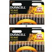 Duracell Alkalin Aa Kalem Pil (12 + 12) 24'lü Paket