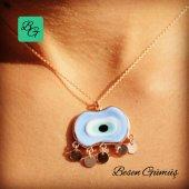 Besen Gümüş Beş Pullu Rose Büyük Oval Mavi Göz Kolye