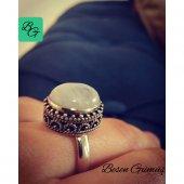 Besen Gümüş Doğal Aytaşı Oval El Yapımı Kadın Yüzük