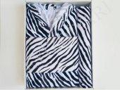 Zebra Desenli Tek Kişilik Bornoz Seti 3 Parça