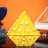 Elmas Tasarımlı Sarı Renkli Ledli Gece Lambası