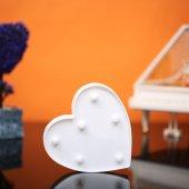 Kalp Tasarımlı Beyaz Renkli Ledli Gece Lambası