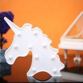 Unicorn Tasarımlı Beyaz Renkli Ledli Gece Lambası