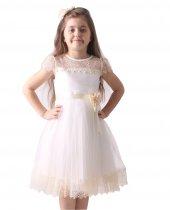 Kız Çocuk Abiye Elbise, Yakası Dantelli, Etek Ucu Dantel