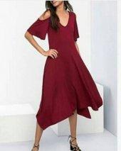Kadın Bordo Kare Kol Elbise