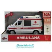 Oyuncak Kutulu Işıklı Sesli Sürtmeli 1 16 Ambulans