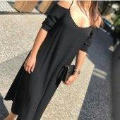 Kadın Dokuma Krep Siyah Elbise