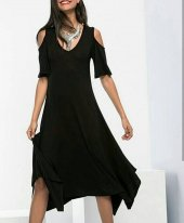 Kadın Siyah Kare Kol Elbise