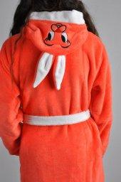 E25 Kız Cocuk Tavşanlı Bornoz Soft Turuncu