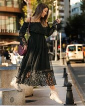 Kadın Siyah Astar Tül Güpür Elbise