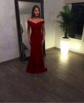 Kadın Bordo Düşük Omuz Abiye Elbise