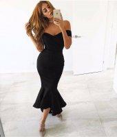 Kadın Siyah Abiye Balık Elbise