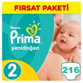 Prima Yenidoğan Bebek Bezi No 2 Beden (216 Adet) Fırsat Paketi