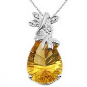 Goldstore 14 Ayar Altın 0.02 Ct Pırlanta Sitrin Kolye Dp9922