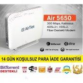 Airties Air 5650 4 Port Adsl Vdsl Bittorent Dlna Fiber Destekli Kablosuz Modem