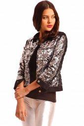 Pullu Bayan Kot Ceket Siyah 9012
