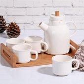 Bambulu Porselen 6 Parça Çay Seti