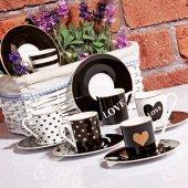 Kahve Fincan Takımı 6lı Siyah Love