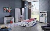 Farinay Future 2023 Beyaz Araba Yatak Karyolalı Genç Odası Takımı