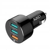 Aukey Cc T11 3 Port Araç Hızlı Şarj Qc 3.0 Ve 1mt Type C Kablo